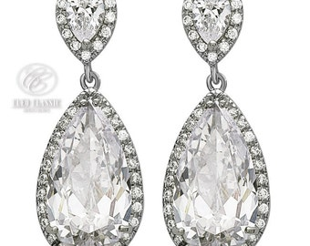 Top Quality Bling Clear Cubic Zirconia 18 kt White Gold Rhodium Plated Drop Bridal Earrings