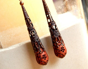 Earrings, brown-colored pearls and antique copper beads