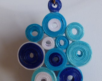quilling pendant blue and white - made in France