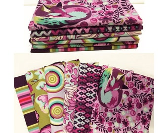 CHIPPER by Tula Pink for Free Spirit Fabrics - Fat Quarter Bundle - in Raspberry