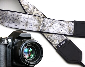 World map camera strap. North America, Europe, Australia, South America. Padded camera strap. Shoulder strap DSLR and SLR.
