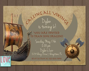 Viking Dragon Train, pirate Ship Invitation - PRINTABLE DIGITAL FILE - 5x7