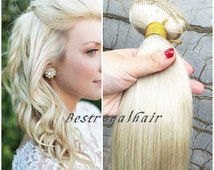 20 Inches Body Wavy White Blonde Hair Extension, Indian Remy Clips in Hair Extensions RHS102