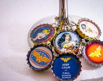 Wonder Woman Wine Charms, vintage bottle cap wine charms, wonder woman super heros