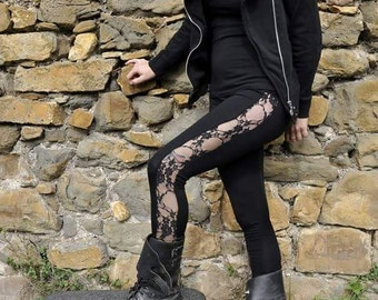 Legging Line Black floral lace / / black floral lace / / SpSm'16 / / Enajenhada Extreme Alternative Punk Pixie Fantasy