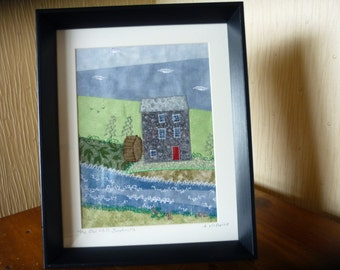 Original Applique Old Mill Bushmills Picture. Freehand Embroidered Picture.  Framed Applique Picture. Northern Ireland Landmark.