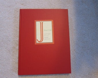 Large red hardbound blank lined journal, recent vintage, new condition