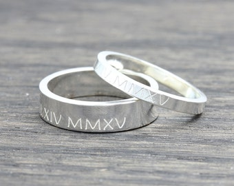 Personalized Roman Numeral Jewelry, Message Ring, Name Ring, Location Ring,  Couple rings, Wedding gift, gift for her
