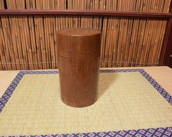 Japanese Wooden Tea Caddy Canister