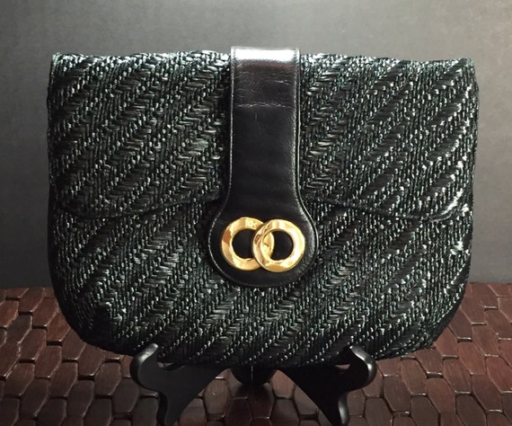 Vintage Rivoli Coral Gables Dadeland Mall woven black straw bag with Gold Shoulder chain strap