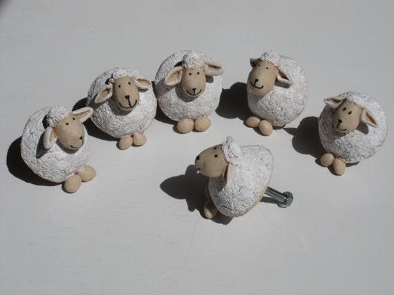 BUTTONS drawers lot of 3 sheep. PORCELAIN cold saeljana.  handles room child gift Christmas