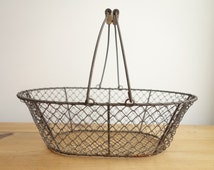 French vintage basket - French wire basket - French market basket - French egg basket - vintage basket - rustic - French country kitchen