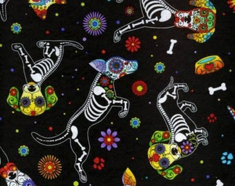 Day of the Dead Dog on Black Cotton Fabric by Timeless Treasures