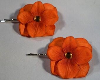 Hair Pin- Set of two Burnt Orange Flower with Rhinestone