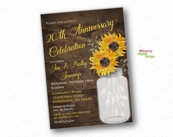 Sunflower Anniversary Party Invitation. PRINTED or PRINTABLE. 20th Anniversary Celebration Invite.  SunFlower Rustic Mason Jar
