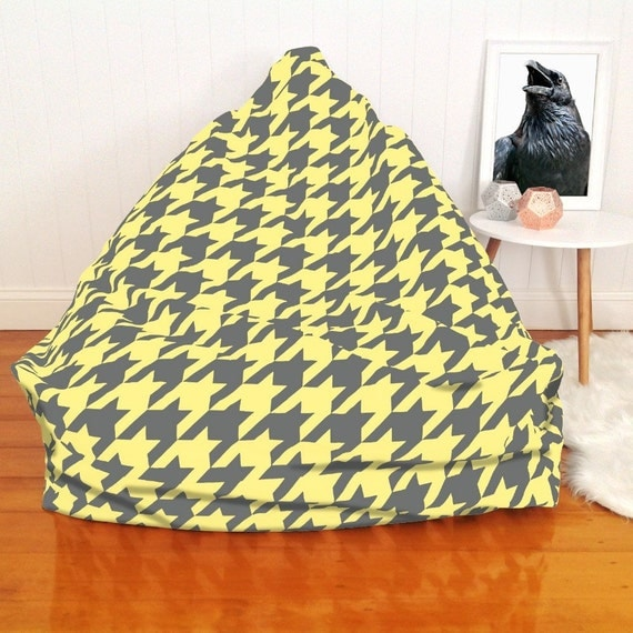 Grey yellow houndstooth bean bag chair by choosyshop on etsy