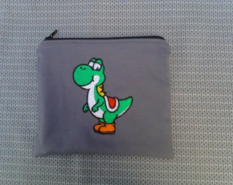 Mario Yoshi Embroidered Zipper Pouch