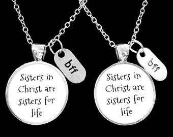 Best Friend Gift, Best Friend Necklace, Sisters In Christ, Best Friend, BFF, Necklace Set