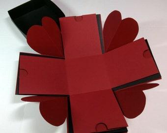 "Explosion Box, Exploding Box, Love Explosion Box, Hearts Corners Explosion Box, 4"" x 4"" cube, Red Velvet-Look Box"