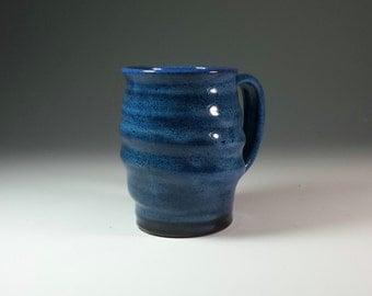 Large Blue Ceramic Pottery Mug,Wavey Blue Pottery Mug,Ready to Ship,Unique pottery Mug,Unusual Ceramic Mug,blue Mug,carved mug,Beer Mug