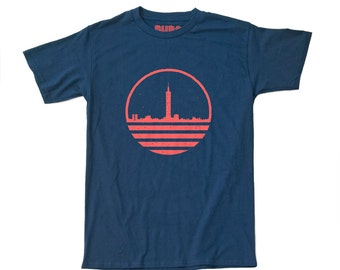 SALE ITEM! Mens Taipei Taiwan City Building T-Shirt - Navy Coral Red - Mens T Shirt - BURA Clothing - T-Shirts for Travellers - Travel