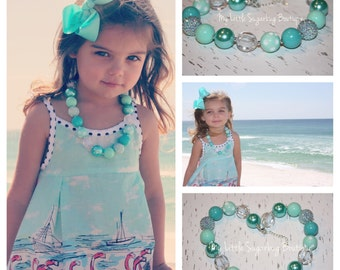 Turquoise Breeze Chunky Necklace-M2M Fleur L'enfant Gidget-Bubblegum Necklace-Baby-Toddler-Girls-Women