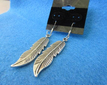 Pair of silver Feather Dangle Earrings