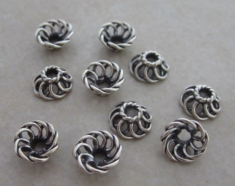 10 oxidized sterling silver wire Bali bead caps 7mm