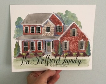 LOCAL BUYERS (no shipping) 8x10 watercolor Custom home illustration