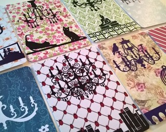 16 Printed Journalling cards: 8 Chandeliers + 8 Random