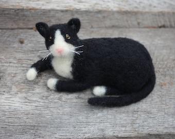 Needle Felted Tuxedo Cat