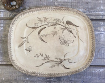 "Antique English brown transferware platter in the ""Summer Time"" pattern, by T & R Boote"
