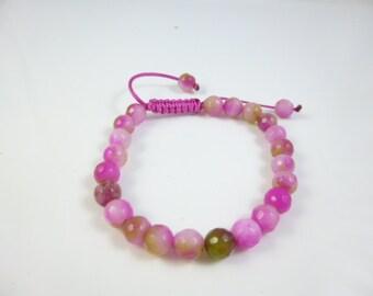 Pink Bracelet, Pink Bead Bracelet, Hot Pink Bracelet, Thread Bracelet