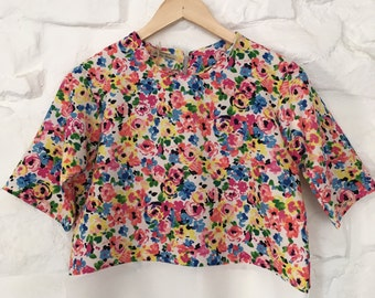 Colourful bold floral print cute top