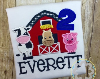 Old McDonald Farm Animals, Petting Zoo Themed Personalized Birthday Party Shirt