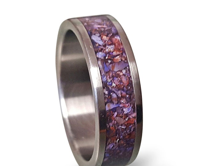 Men's titanium ring with crushed amethyst inlay, Titanium Wedding Band