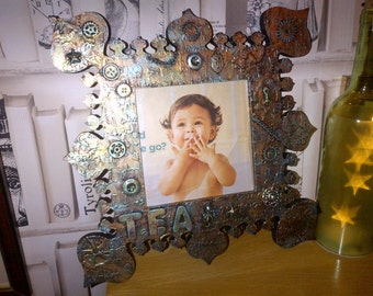 Handmade Steampunk photo frame - 'TEA'