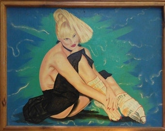 1980s pin-up girl painting