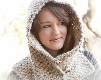 Loom Knit Hood With Cowl PATTERN. Child, Teen & Adult Sizes. Chunky, Oversized Hood Cowl Pattern. Instant PDF PATTERN Download.