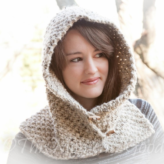 Hooded Cowl Knit Pattern : Loom Knit Hood With Cowl PATTERN. Child Teen & Adult Sizes.