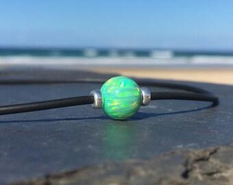 Green Opal Necklace on Neoprene