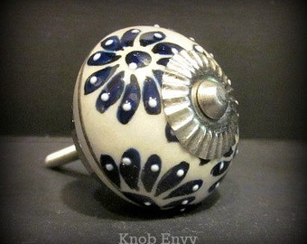 One Blue White and Cream Round Knob~Silver Fitting~More or less available