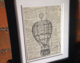 Original Artwork: Hot Air Balloon on vintage dictionary paper