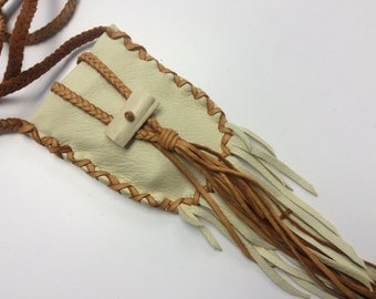 Small Purse with Braid Strap, Ooak Deer Hide Pouch with Fringe, Original Leather Card Pouch, Made in Canada