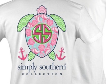 NEW  2016 Simply Southern short sleeve design! Preppy Turtle !