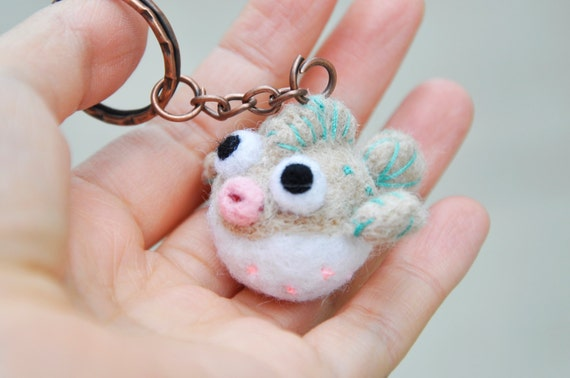 Needle felt puffer fish miniature needle felted by noristudio for Mini puffer fish