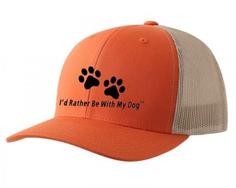 Orange Trucker Hat - I'd Rather Be With My Dog