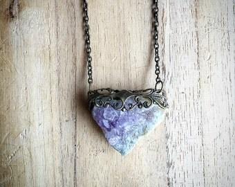 amethyst crystal chunk pendant