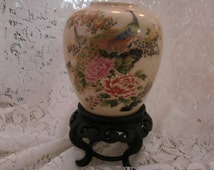 Vintage Japanese Peacock & Flowers Vase With Wood Stand