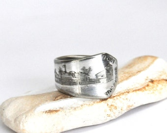 chicago ring, spoon ring, 1933 world fair ring, fort dearborn ring , 1933 expo ring, american ring
